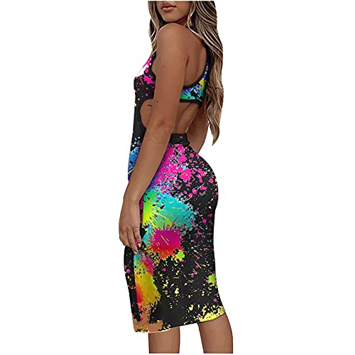 AMhomely Women Dresses Sale,Ladies Sexy Casual Sleeveless Slimming O-Neck Printing Backless Tank Dress UK Size Party Elgant Dresses Clearance Work Dress Office Dressing Black