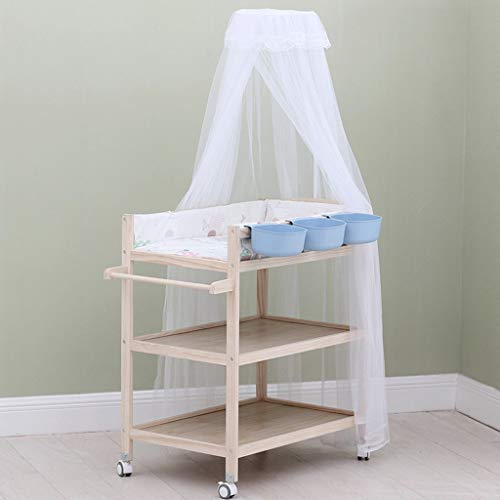 ZAQI Wickelkommode wickelaufsatz wickeltisch Mobiler Wickeltisch aus Holz, Wickeltisch für Jungen und Mädchen mit Moskitonetz und Aufbewahrung (Color : Blue)