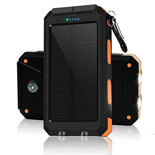 Solar Chargers 30,000mAh, Dualpow Portable Dual USB Solar Battery Charger External Battery Pack Phone Charger Power Bank with Flashlight for Smartphones Tablet Camera (Orange B)