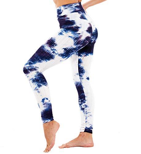 SLIMBELLE Damen Sport Leggings Anti-Cellulite Yogahosen Push Up Booty Leggins Hohe Taille Honeycomb Scrunch Fitnesshose Sporthose Slim Fit Laufhose Ruched kompressionsleggings für Gym Yoga Training