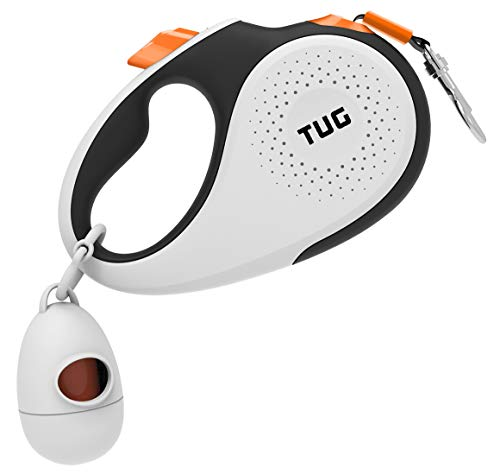 TUG 360° Tangle-Free, Heavy Duty Retractable Dog Leash with Anti-Slip Handle; Strong Nylon Tape/Ribbon; One-Handed Brake, Pause, Lock