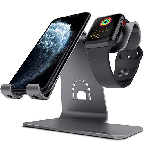 Bestand - Supporto 2 in 1 per tablet e Apple Watch, comodo supporto di ricarica per Apple iWatch, iPhone X, 8 Plus, 8, 7 Plus, iPad, color grigio spaziale