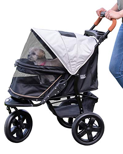 Pet Gear No-Zip Jogger Pet Stroller for Cats/Dogs, Zipperless Entry, Easy One-Hand Fold, Gel-Filled Tires, Cup Holder + Storage Basket, Summit Grey