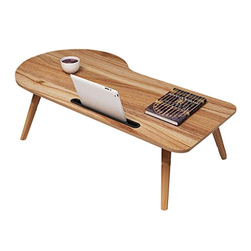 Bed Desk Laptop Table Simple Folding Small Table Solid Wood Writing Desk Student Dormitory Lazy Table Home Small Coffee Table (Color : Oak Color, Size : 90x38x30cm)