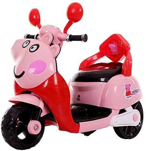 LUO Bicicleta, Niños 'Bicicletas, Niños Bicicleta' S Coche eléctrico Motocicleta Hombres y mujeres Niños Triciclo 1-2-4 Bebé Cerdo Coche de juguete Puede andar en motocicleta,rojo,rojo