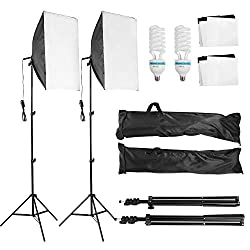 MVPower® Softbox photo lamp studio set with height-adjustable lamp tripod 50 x 70 cm, 135W Set-2 for photo studio, product photography and video recording