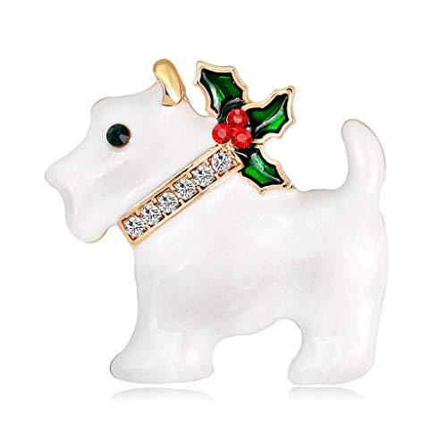 Kofun Broche, Kerstmis Nieuwjaar Puppy Hond Broche Strass Pins Sjaal Corsage Geschenken Zwart