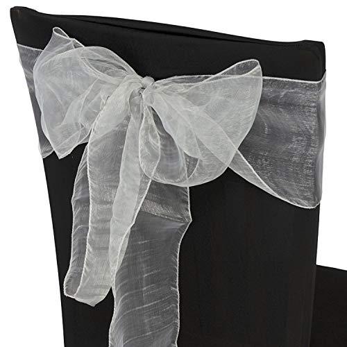 Trimming Shop 17 X 280cm Silla Organza Completo Lazo Bandas - Semi-Transparente Tela Cubiertas con Minimal Sheen - Adecuado para Banquetes Bodas,Recepciones,Celebraciones, y Eventos