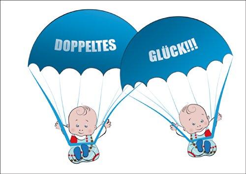 Süße Zwillings Babykarte/ Glückwunschkarte zur Geburt von Zwillings Jungen mit blauen Babys an Fallschirmen: Doppeltes Glück!!! • direkt Versand mit Ihrem Text auf Einleger • liebevolle Willkommens Grusskarte, Geschenk-karte zur Geburt