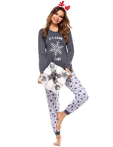 Doaraha Schlafanzug Damen Pyjama Set Zweiteilige Nachtwäsche Lang Baumwolle, Langarm Sleepwear Hausanzug, Rundhals Sleepshirt & Lange Sterne Pyjamahose für Herbst Winter