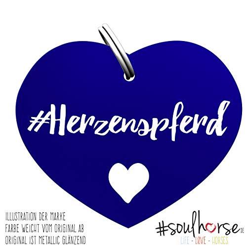 Soulhorse Herzenspferd blau Kleiner Glücksbringer Marke Anhänger für Pferdezubehör Halfter Trense Zaumzeug Sattel Vorderzeug