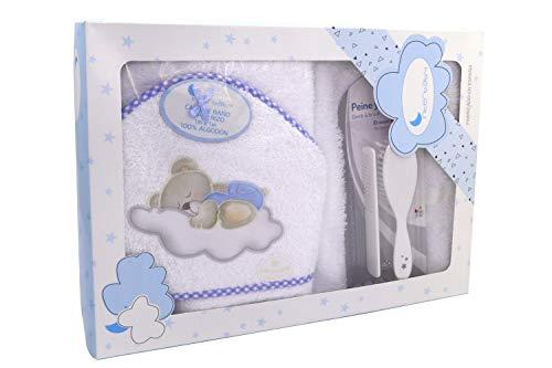 Capa de Baño Osito con Nube y Juego de Cepillo y Peines, 100% algodón