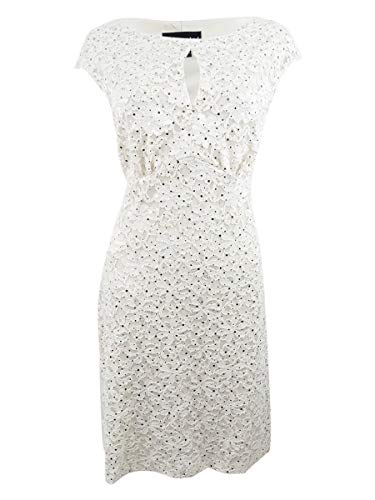Connected Women's Sequined Lace Sheath Dress (8, Champagne/Gold)