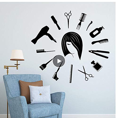 MRQXDP Barbershop Gereedschap Vinyl Muursticker Klok Vorm Haar Knip Muursticker Haar Studio Decoratie Barbers Wall Window Art Poster 57x52cm decorativo habitacion cameretta adesiva Muro