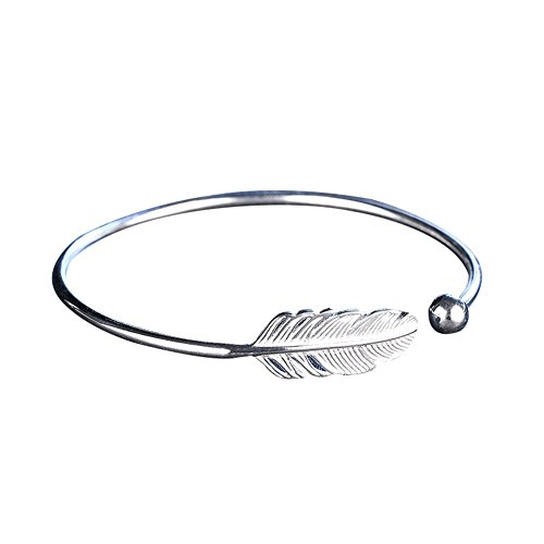 Braccialetto rigido a forma di piuma d'angelo, placcato in argento, aperto e regolabile, da donna