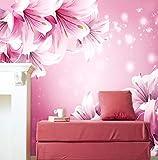 Moderno Simple Sala Fondo Fondo Fondo Venta Directa Dormitorio Caliente Púrpura 3D Grande Fresco Lirio, 400 × 200 cm