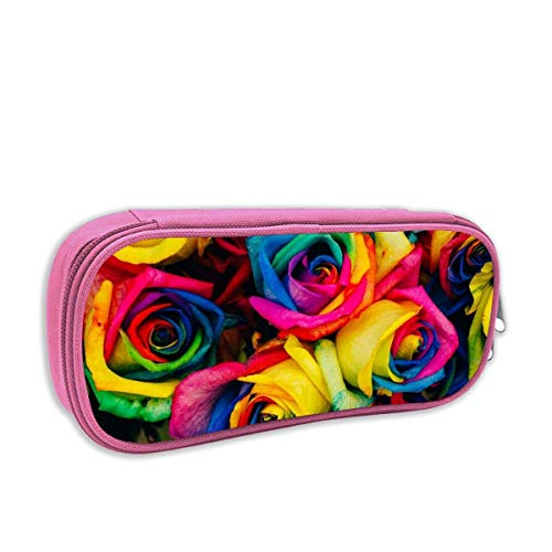 IUBBKI Rainbow Colorful Rose Flower School Personality Pouch Cosmetic Bag with Zipper