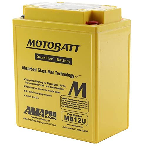 Batería Motobatt MB12U (YB12A-A YB12AL-A YB12AL-A2 YB12A-B YB12C-A) AGM – Sin mantenimiento – 12 V 15 Ah – Dimensiones: 135 x 80 x 161 mm compatible con Ducati GT, GTS (Kick Starter) 860