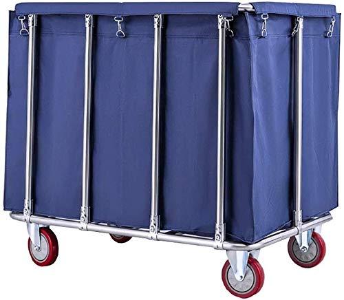 SOAR Wäschesammler Servierwagen Trolley 400L Kapazität Wäscherei Sorter Wagen mit Silent Rädern, Rollen Wäschekorb mit abnehmbaren Taschen, Edelstahlhalterung (Color : Blue)