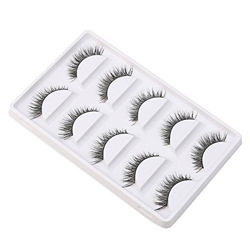 Grande vente! Kashyk 5 paires/lot entrecroisées False Eyelashes Lashes Cils volumineux pour les yeux, longue durée de vie, Effet de cils faux de longue dur, Réutilisable et Nettoyable cils (Noir)