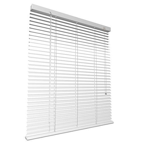 Levivo Aluminium-Jalousie mit Schnurzug, in der Länge individuell kürzbar, präzise einstellbar und einfach zu bedienen, Inkl. Montagematerial, Weiß, 60 x 130 cm