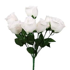 SN Decor 84 Silk Rose Buds Artificial Flowers for Wedding DIY Centerpiece Floral Arrangement (10″x4″) Fake Roses White Silk Flower with Gypsophila – New