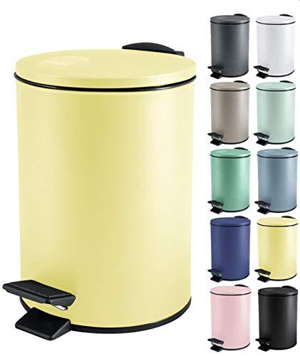 Spirella Kosmetikeimer 5 Liter Edelstahl mit Absenkautomatik und Inneneimer Adelar Badezimmer Mülleimer Softclose Abfalleimer Gelb