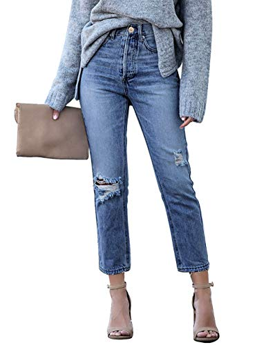 Vetinee Women's High Rise Destroyed Boyfriend Jeans Washed Distressed Ripped Denim Pants
