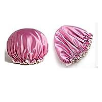 ASHDZ シャワーキャップ、大人の防水シャワーキャップ、女性防水キャップ、シャワーバス防水キャップ、バスキャップ、ロングヘア消泡キャップ、 (Color : Pink)