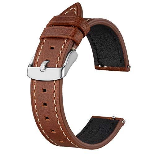 BISONSTRAP Correas de Reloj de Cuero 20mm, Correa de Repuesto de Liberación Rápida para Hombres y Mujeres, Rojo Marrón