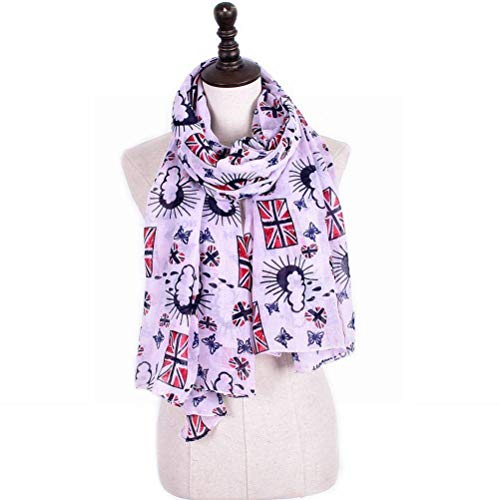SLI-sjaal Britse vlag bedrukte sjaal Bali garen vrouwelijke sjaal kan worden Bib, wit zwart, 175cm