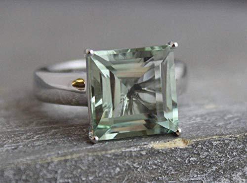 15mm Prinzessschliff Grüner Amethyst Sterling Silber Ring US-Größe 7 / Diameter 17.3 (norway)