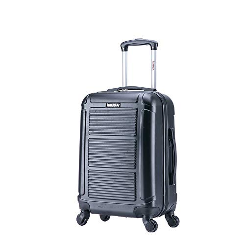 InUSA Pilot 20 Inch Hardside Carry-On Spinner Luggage with Ergonomic Handles, Travel Suitcase with Four Spinner Wheels and Studs, Black