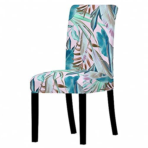 GVJKCZ Fundas para sillas,Hojas de gradiente Creativo de Polvo Azul sillas Elásticas y Modernas Funda Asiento Silla,Extraíbles y Lavables-Decor Restaurante,6 Piezas