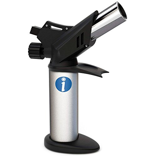 Culinary Torch Lighter for Creme Brulee, Sous Vide, Searing - Professional Food Cooking Torch for Chef and Home Kitchens - Handheld Butane Blow Torch for Art and Crafts by Ingeniosity Products