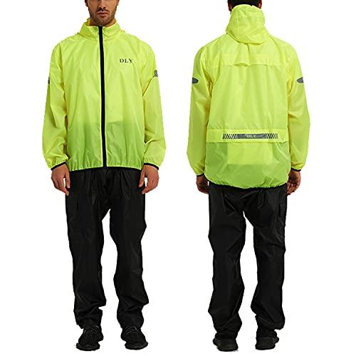DLY Giacca impermeabile ciclismo da uomo - cappotto rifrangente per uomini, cappotto antipioggia unisex traspirante - per l'esterno, corsa e camminata