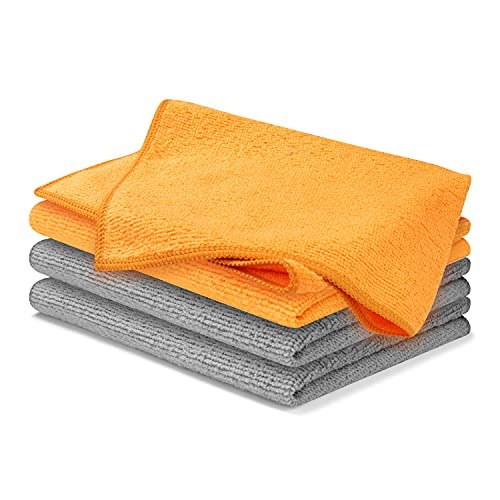 USANOOKS Microfiber Cleaning Cloth - 4/6/8/10/12 Pcs (12x16 in) High Performance, 1200 Washes - Ultra Absorbent Weave Traps Grime & Liquid for Streak-Free Mirror Shine - Lint Free Towel (Pack of 4)