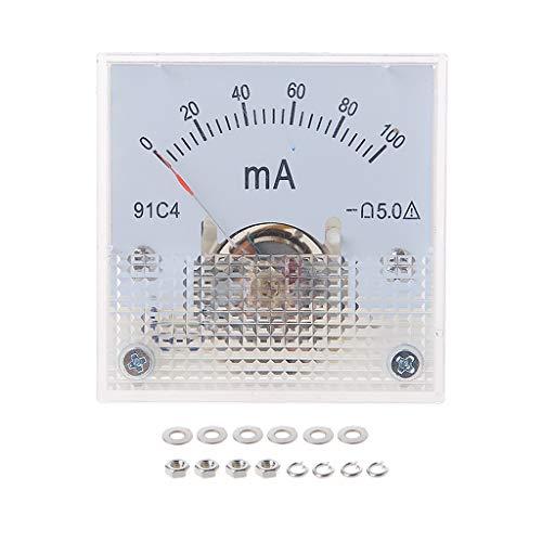 ZHOUMO 91C4 Amperemeter DC Analoger Strommesser Panel Mechanischer Zeiger Typ 1/2/3/5/10/20/30/50/100/200/300/500 / 500mA / A. (100mA)