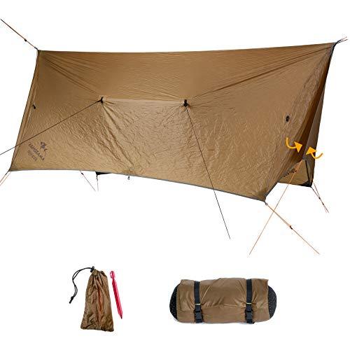 AMAZONAS Ultra-Light Adventure Wing Tarp 680 g Zelt-Ersatz mit 360° Wetterschutz in Braun