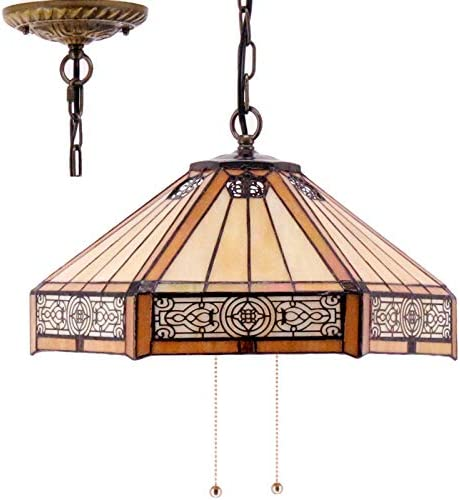 Tiffany Hanging Lamp 16 Inch Pendant Light Yellow Stained Glass Mission Hexagon Shade S011 WERFACTORY product image