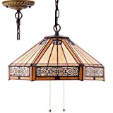 Tiffany Hanging Lamp 16 Inch Pendant Light Yellow Stained Glass Mission Hexagon Shade S011 WERFACTORY Chandelier Ceiling Fixture Lover Dining Living Room Bedroom Study Office Coffee Bar Hallway Loft
