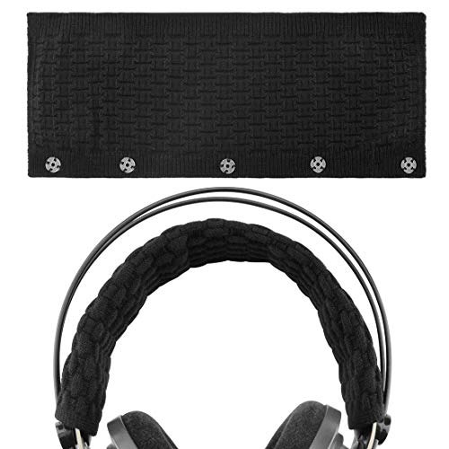Geekria Breien Hoofdband Cover, Compatibel met Bose, AKG, Sennheiser, Sony, Beats, Audio-Technica Vervangende Hoofdband Cover/Comfort Kussen/Top Pad Protector (Zwart Grote)