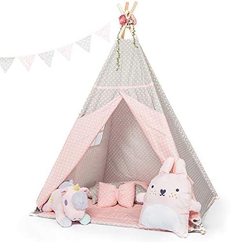 Tipi Zelt Für Kinder Spielhaus Faltbare Indoor Outdoor Zelte Kinder Spielzeug Haus Outdoor Kinder Zelt Geburtstagsgeschenk Für Jungen und mädchen (Farbe   Rosa, Größe   TENT+MAT)