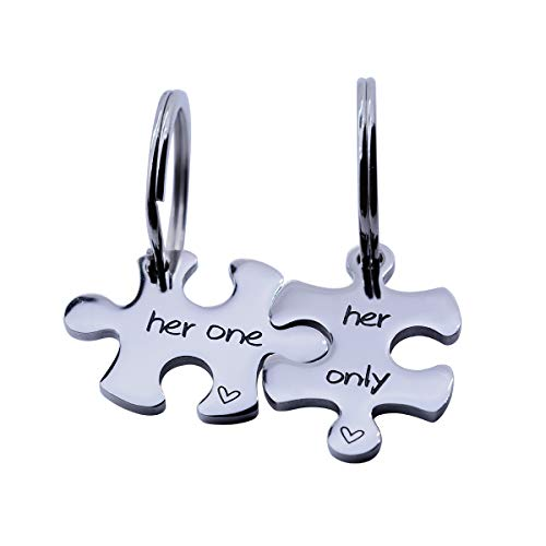 omodofo Puzzle Piece Keychains Set of 2 Gay Boyfriend Couples Jewelry LGBT Lesbian Girlfriend Anniversary Valentines Day Wedding Gifts (Her One & Her Only (Keychain))