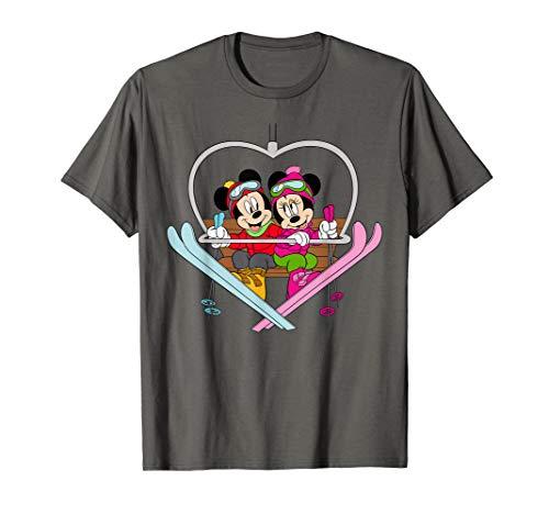 Disney Mickey and Minnie Mouse Heart Shaped Ski Lift T-Shirt