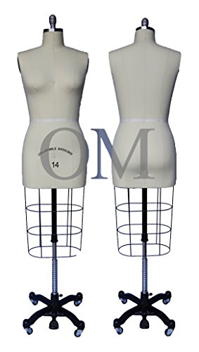 Female Professional Dress Form Mannequin with Collapsible Shoulders Size 14 (Made by OM (Collapsible Series)