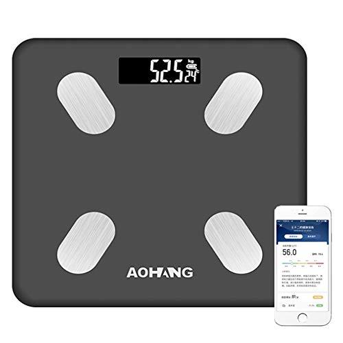 QMKJ Digital Inteligente Escala de Grasa Corporal 10 Medidas de Salud Digital baño de Bluetooth con Mayor Pantalla LED y Superficie de Vidrio Templado 190KG
