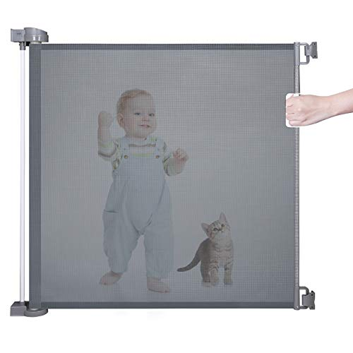 Retractable Baby Gate for Kids or Pets Abaook Mesh Baby Safety Gate for Doorways Stairs Hallways Patios Indoor Outdoor Child Gate Extra Wide 34quot Tall Extends to 55quot WideGrey
