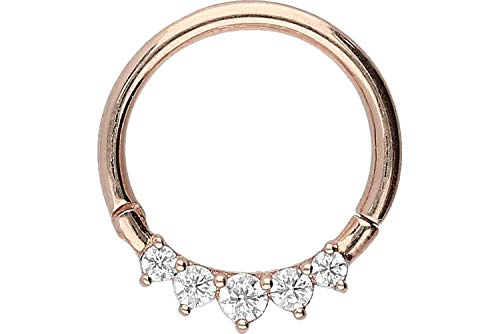 PIERCINGLINE 18 Karat Gold Segmentring Clicker | Piercing Ring Septum Helix Tragus | Farb & Größenauswahl | 5 Kristalle