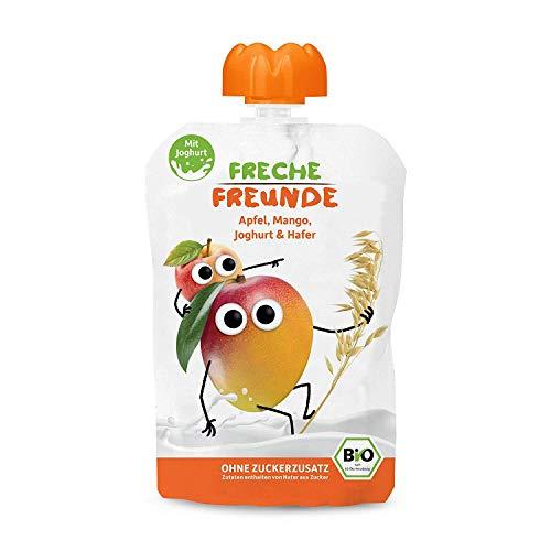 FRECHE FREUNDE Bio Quetschie Mango, Joghurt und Hafer, Fruchtmus mit Joghurt im Quetschbeutel für Babys ab 1 Jahr, 6er Pack (6 x 100 g)